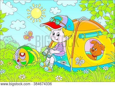 Smiling Little Boy Scout And His Funny Small Pup Resting In A Color Camping Tent On A Green Glade Of