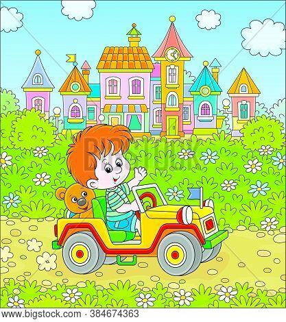 Little Boy Driving A Toy Off Road Car On A Road Out Of Town On A Summer Day, Vector Cartoon Illustra