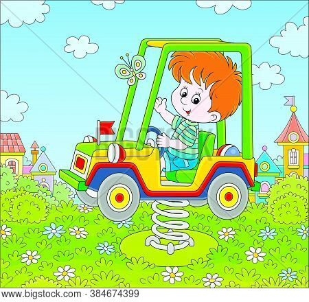 Smiling Boy On A Toy Car Swing On A Playground In A Summer Park Of A Town, Vector Cartoon Illustrati