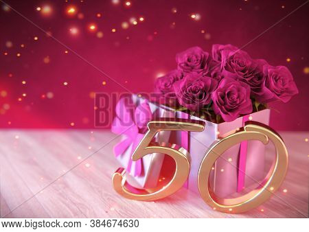 Birthday Concept With Pink Roses In Gift On Wooden Desk. Fiftieth Birthday. 50th. 3d Render