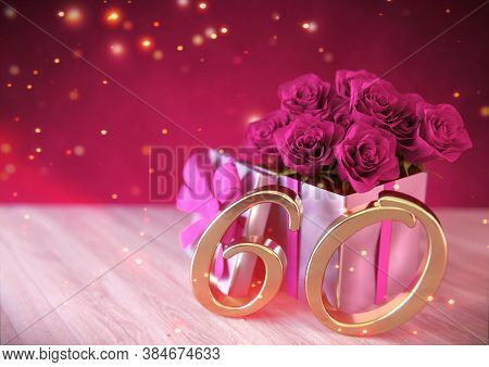 Birthday Concept With Pink Roses In Gift On Wooden Desk. Sixtieth. 60th. 3d Render