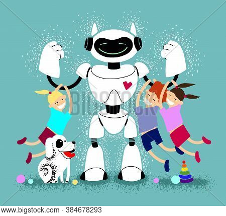 Babysitter Robot With Children Vector Illustration. Robot Nanny With Kids. Futuristic Assistant. Kin