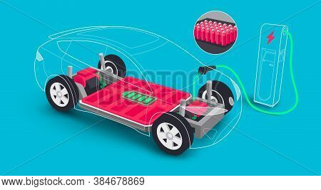Modern Electric Car Modular Platform Board Charging Battery Pack Rechargeable Cells Inside. Electric