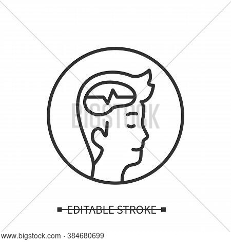 Calm Mind Icon. Man Head With Peaceful Thinking Linear Pictogram. Concept Of Mediation, Mindfulness,