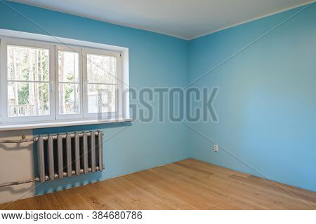 New Home Construction Interior Room With Wooden Floors And Windows