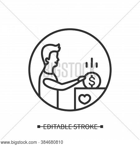 Philanthropy Icon. Man Donating Money To Church Box Or Charity Linear Pictogram. Concept Of Good Per