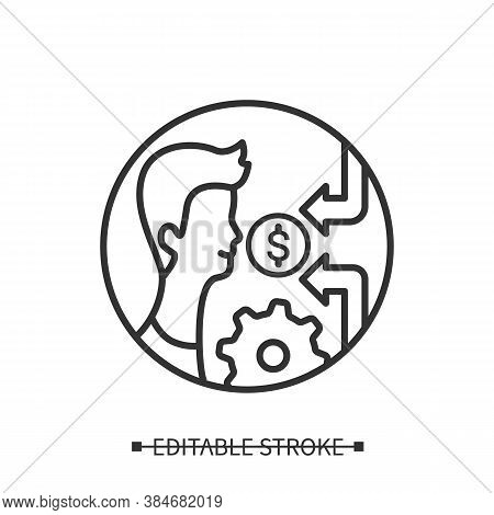 Personal Finance Icon. Person With Multiple Income Sources Or Cash Flows And Gear Line Pictogram. Fi