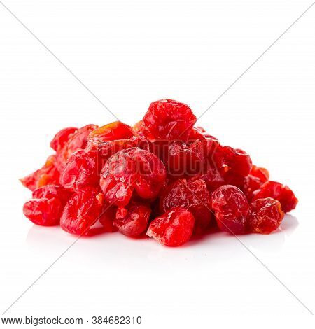 Dried Cherries On A White Background, Dried Red Fruits