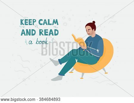 A Man With A Brown Hair In A Blue Clothing Sitting In A Yellow Chair And Reading A Book. Vector Cart