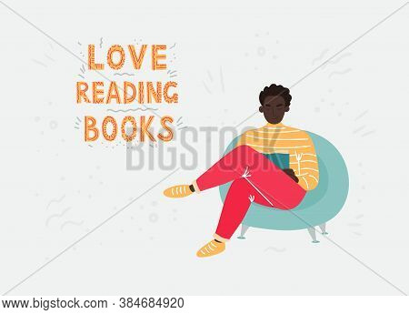 An African Man With A Dark Hair In A Bright Clothing Sitting In A Blue Chair And Reading A Book. Vec