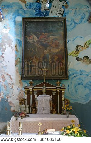 STARI FARKASIC, CROATIA - OCTOBER 10, 2013: Main altar in the Church of the Visitation of the Virgin Mary in the Stari Farkasic, Croatia