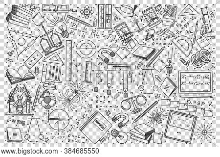 Physics Doodle Set. Collection Of Hand Drawn Sketches Templates Drawing Patterns Of Physical Laws Fo