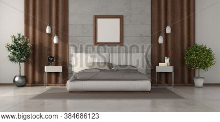 Modern Bedroom With Double Bed Against Concrete Wall And Wooden Paneling - 3d Rendering