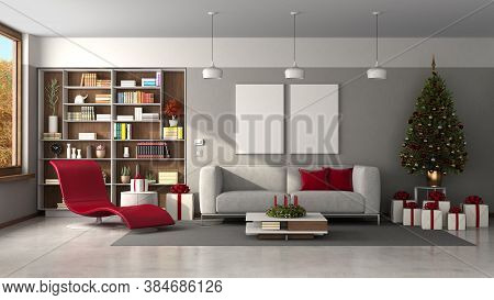 Modern Living Room With Christmas Tree And Gift - 3d Rendering