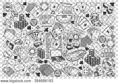 Poker Doodle Set. Collection Of Hand Drawn Sketches Templates Of Casino Club Gambling Poker Cards On