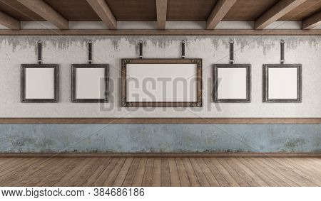 Retro Style Art Gallery With Picture Frame On Old Wall And Wooden Ceiling - 3d Rendering