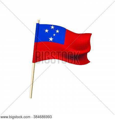 Samoa Flag. Southern Cross Constellation On Blue Rectangle On Background. Vector Illustration