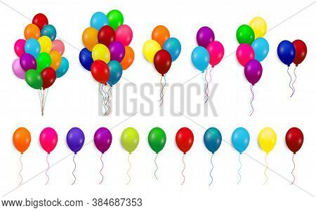 Set, Bunches And Groups Of Color Glossy Helium Balloons Isolated On White Background. Vector.