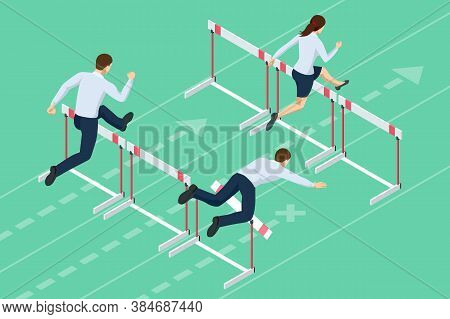 Isometric Business People Jumping Over Obstacle. Overcome Obstacles. Business Competition Concept.