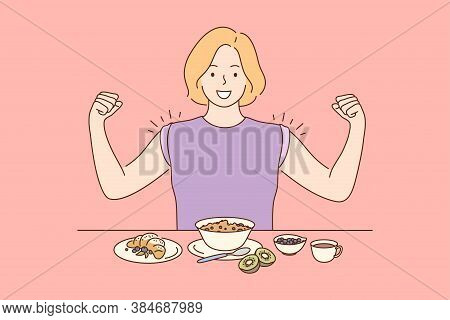 Health, Care, Food, Diet Concept. Young Happy Miling Cheerful Woman Girl Cartoon Character Eating Br