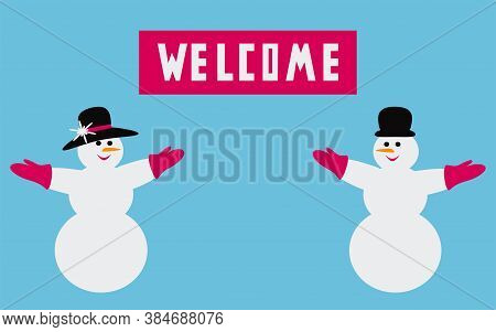 Snowman And Snow Woman Invite. Winter Sale Banner Or Poster. Template For Shopping Promotion. Invita