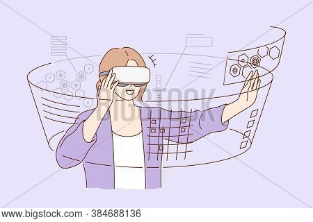 Technology, Virtual Reality, Entertainment Concept. Young Happy Smiling Excited Woman Girl Cartoon C