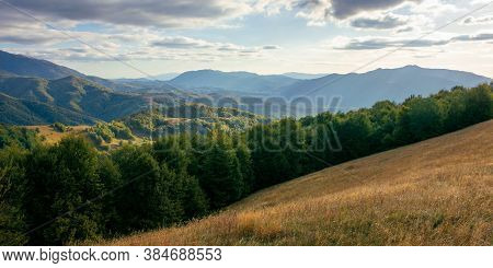 Mountainous Countryside In The Afternoon. Beautiful Landscape Of Carpathians. Valley Of Borzhava Rid