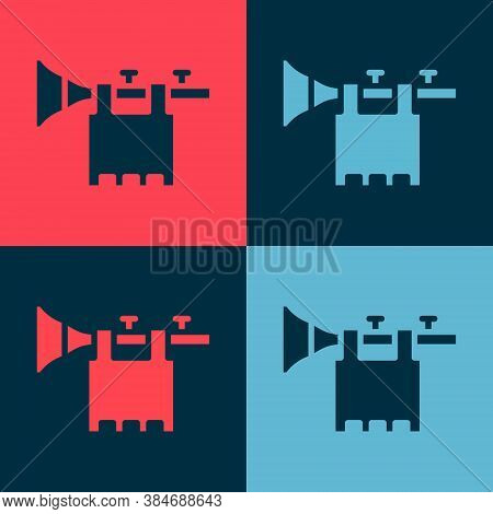 Pop Art Trumpet With Flag Icon Isolated On Color Background. Musical Instrument Trumpet. Vector
