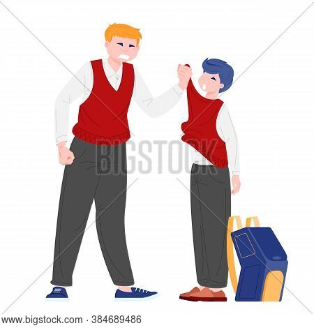 Schoolboy Bullied Classmate. Physical Bullying Concept. Cartoon Vector Iilustration Of Two Teenagers