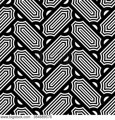 Seamless Surface Design With Slanted Figures. Grid Image. Herringbone Pattern. Slabs Tessellation. F