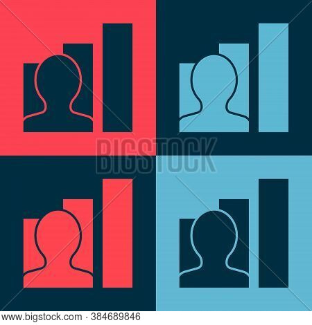 Pop Art Productive Human Icon Isolated On Color Background. Idea Work, Success, Productivity, Vision