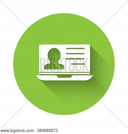 White Laptop With Resume Icon Isolated With Long Shadow. Cv Application. Searching Professional Staf