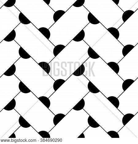 Grid Image. Herringbone Pattern. Slabs Tessellation. Seamless Surface Design With Slanted Blocks Til
