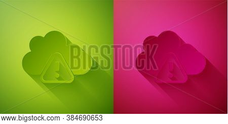 Paper Cut Storm Warning Icon Isolated On Green And Pink Background. Exclamation Mark In Triangle Sym