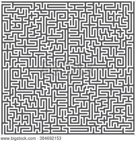 A Square Labyrinth Top View Isolated On White Background. Classic Maze Game. Gray Maze For Your Busi