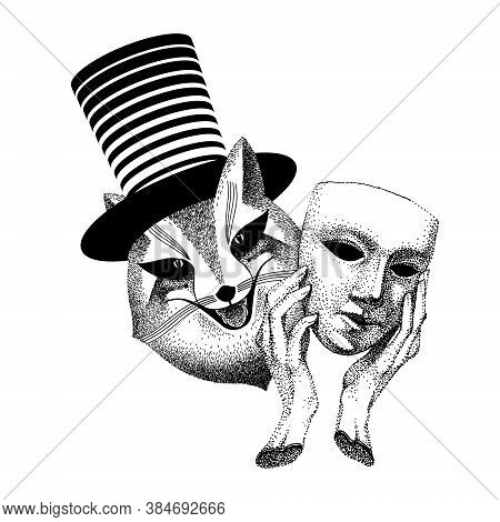 Hypocrite, Trickster. Joker Is An Evil Trickster. Sly Fox Hides Behind A Mask. Man Magician With Cyl