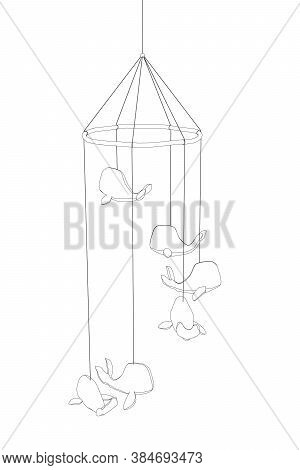 Contour Suspension Whales. Children Toy With Whales. Vector Illustration