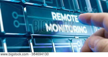 Man Using A Remote Monitoring System By Pressing A Button On Futuristic Interface. Business Concept