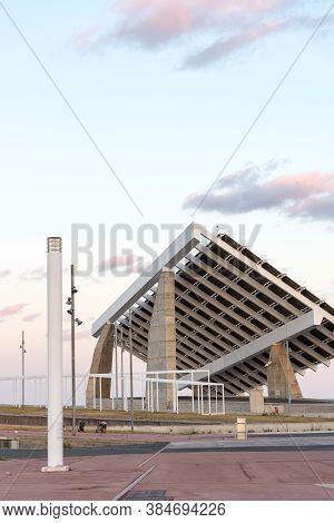 Barcelona, Spain : 2020 02 Sept : Modern Solar Photovoltaic Panel In Forum District Zone, Barcelona,