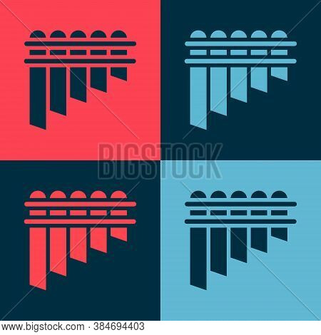 Pop Art Pan Flute Icon Isolated On Color Background. Traditional Peruvian Musical Instrument. Zampon