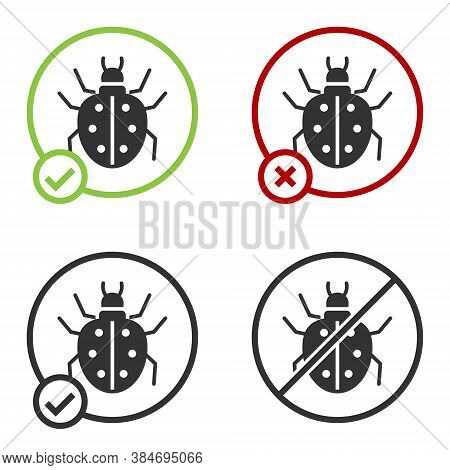 Black Mite Icon Isolated On White Background. Circle Button. Vector