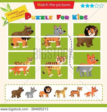 Matching Game For Children. Puzzle For Kids. Wild Animals. Bear, Wolf, Lion, Tiger, Cheetah, Fox.