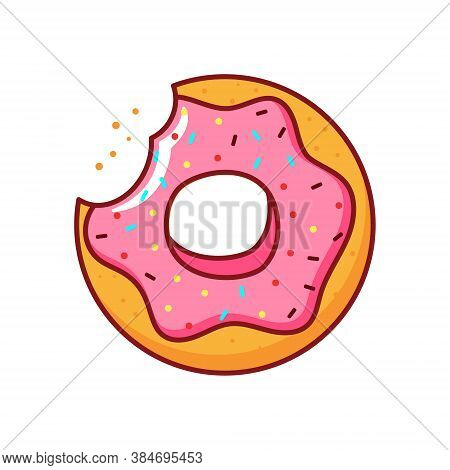 Isolated Donut Icon With Pink Icing On White Background.