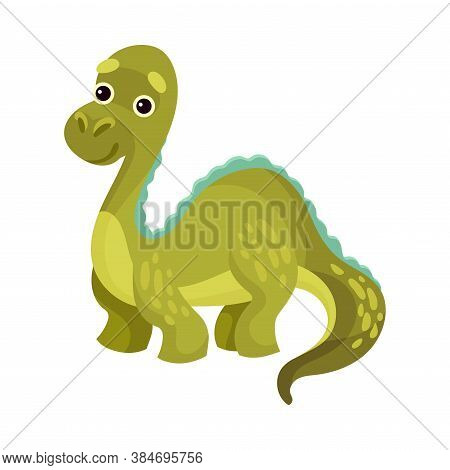 Cute Dinosaur With Long Tail As Ancient Reptile Vector Illustration