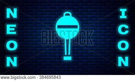 Glowing Neon Rattle Baby Toy Icon Isolated On Brick Wall Background. Beanbag Sign. Vector