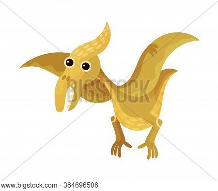 Funny Dinosaur With Wings As Ancient Reptile Vector Illustration