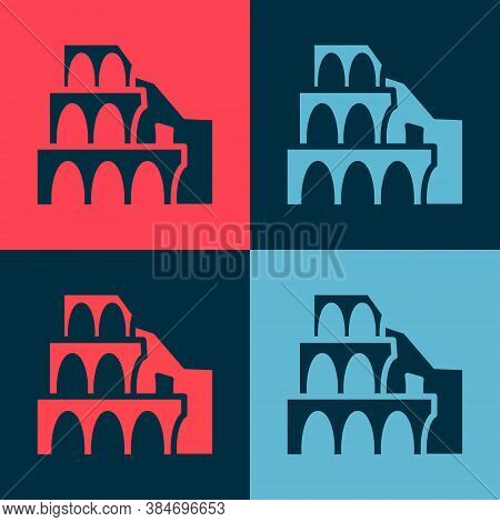 Pop Art Coliseum In Rome, Italy Icon Isolated On Color Background. Colosseum Sign. Symbol Of Ancient