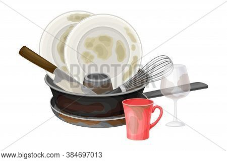 Pile Of Dirty Dishes And Utensils With Plates And Frying Pan Vector Illustration