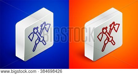 Isometric Line Crossed Medieval Axes Icon Isolated On Blue And Orange Background. Battle Axe, Execut