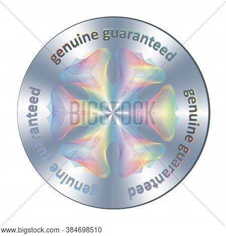 Genuine Guaranteed Metallic Round Hologram Realistic Sticker, Sign, Icon, Emblem, Badge. Vector Genu